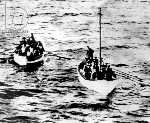 Two lifeboats containing survivors of the RMS Titanic shipwreck, 1912.