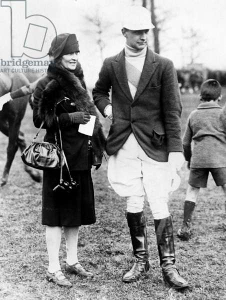 Nancy Astor, member of British Parliament, with her son William Waldorf Astor at the Christ Church and Bullingdon Club Point-to-Point Steeplechase, Berkshire, England, 1928