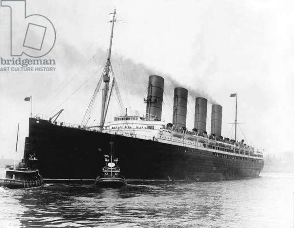 S.S. Lusitania in New York, around 1915.