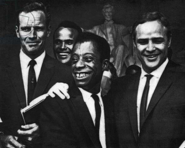 US Civil Rights. From left: Charlton Heston, Harry Belafonte, James Baldwin, Marlon Brando, civil rights march, Lincoln Memorial, Washington, D.C., August, 1963
