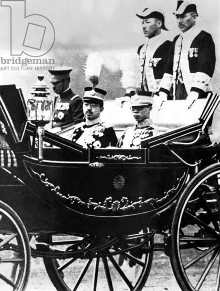 The imperial carriage bearing Emperor Hirohito and Emperor PU-Yi of Manchoukou. April 9, 1935.