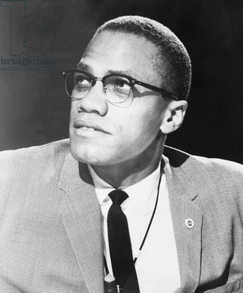 Malcolm X, militant Black Muslim civil rights leader in 1963