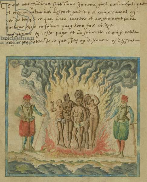 SPANIARDS BURN NATIVE AMERICANS, 1602, watercolor painting by Samuel de Champlain. Image is from a manuscript, attributed to Champlain, in which he describes his voyage with a Spanish fleet to the Caribbean in 1599 to 1600. Champlain's text describes the Spanish practice of torturing native Americans or imposing slavery to convert them to Christianity under the Inquisition (watercolour)