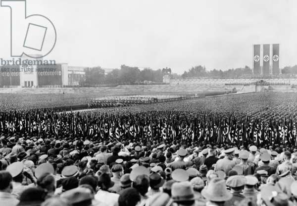 Crowd and troops at a massive Nazi Party Day rally, Nuremberg, Germany in 1937