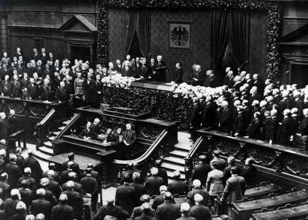 President Paul von Hindenberg celebrating the fifth anniversary of his taking over the presidency of the Repbublic of Reichstag, Berlin, Germany. 1930