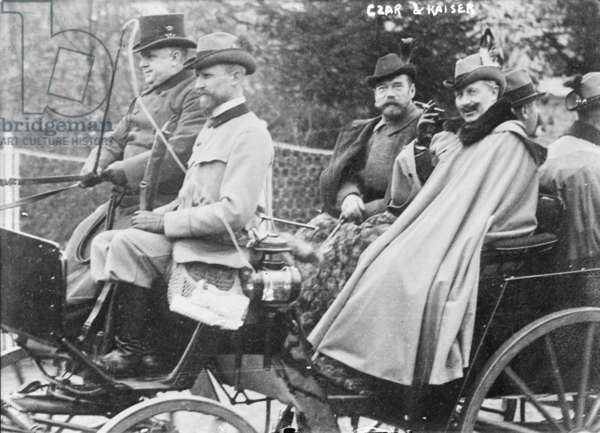 Czar Nicholas II (right of center), of Russia, and, Kaiser William II (front right), the last German Emperor, c.1900s