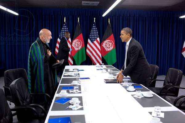 President Obama and President Hamid Karzai of Afghanistan meet at the NATO Summit in Lisbon. Nov. 20 2010. (BSWH_2011_8_210)