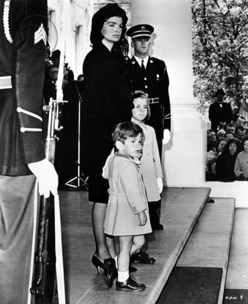 Jacqueline Kennedy with her children John F. Kennedy Jr. and Caroline Kennedy, in a scene from documentary film 'Four Days in November' about the assassination of John F. Kennedy, November 24, 1963.