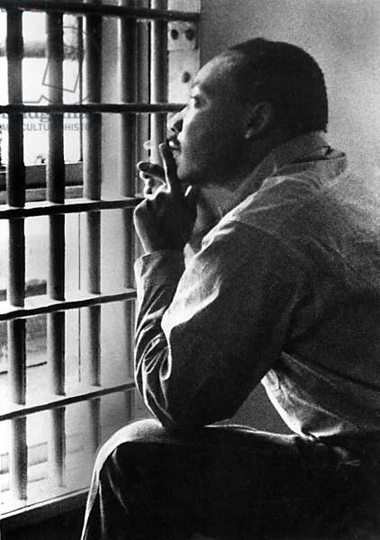 MARTIN LUTHER KING, JR, sitting in the Jefferson County Jail, in Birmingham, Alabama, 11/3/67. Photo by Wyatt Tee Walker/Everett Collection/