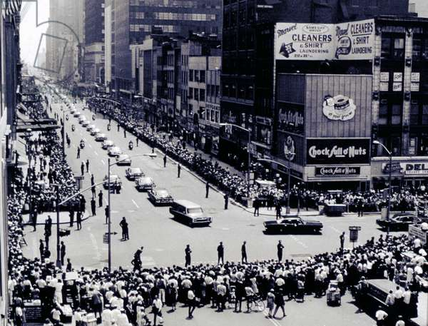 ROBERT KENNEDY, funeral procession for Senator Robert F. Kennedy on 34th St., NYC, June 8, 1968