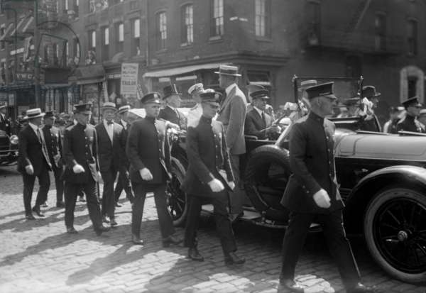 President Woodrow Wilson (1856-1924) in an open car parading on the streets of New York, in 1919