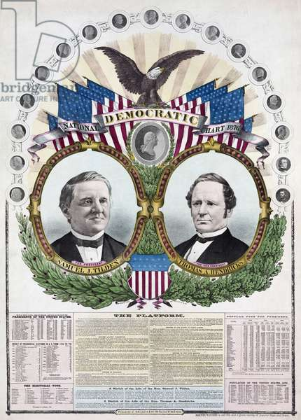 1876 Democratic presidential candidate Samuel J. Tilden and running mate Thomas A. Hendricks. Portraits of U.S. Presidents from George Washington to Ulysses S. Grant form an arc about the central vignette