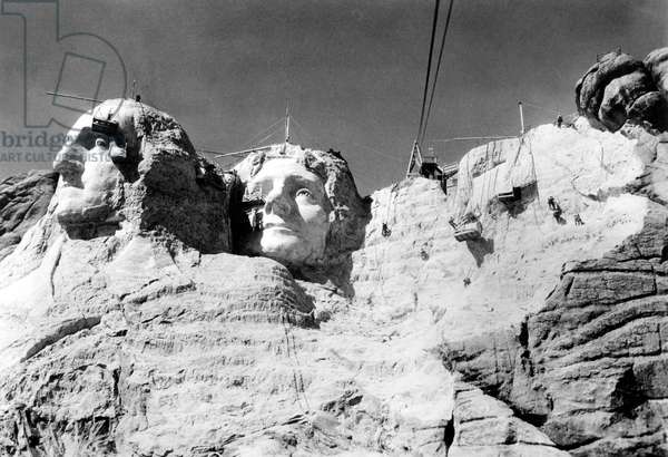 MOUNT RUSHMORE-The mountain under construction with Jefferson almost completed, 1937.
