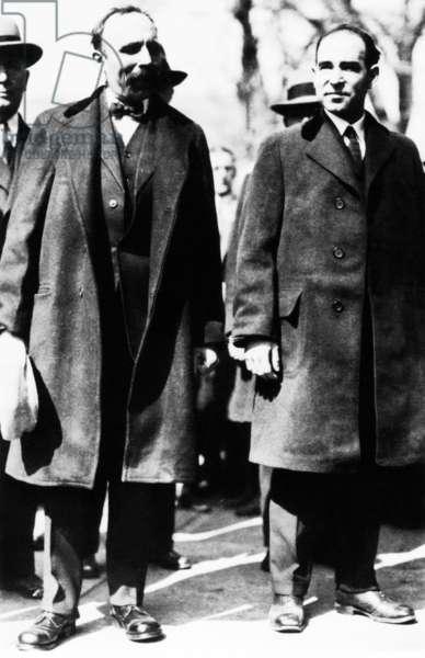 Bartolomeo Vanzetti (left) and Nicola Sacco, principle figures in the murder case of Massachusetts. 1927. -