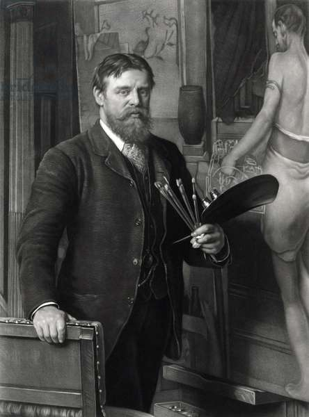 Sir Lawrence Alma-Tadema (1836-1912), in his studio. He painted realistic scenes of ancient history, with exceptional detail and dramatic narrative