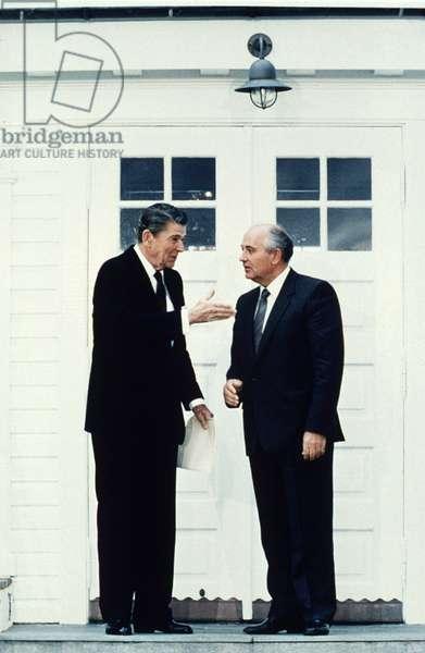 President Ronald Reagan, Soviet Premier Mikhail Gorbachev at the Reykjavik summit meeting, 10/11/86