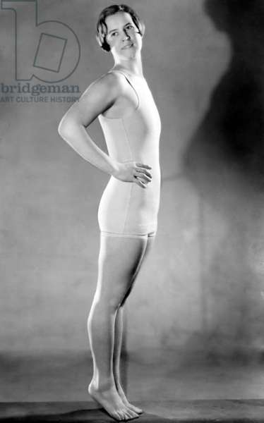 Portrait of swimmer Gertrude Ederle, the first woman to swim the English Channel in 1926,
