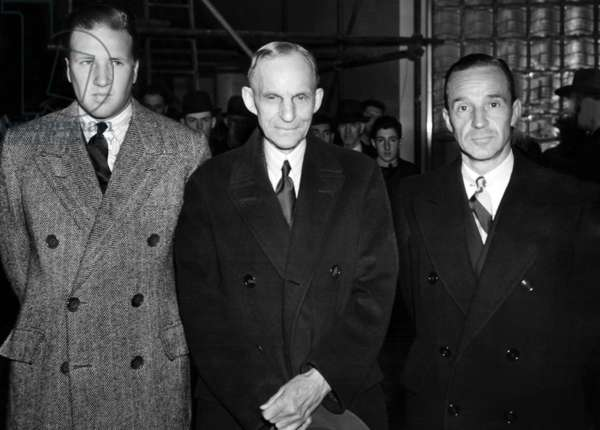 Three Generations of Fords: l to r: Henry Ford II, Henry Ford, and Edsel Ford at the Ford Exhibition at the 1939 World's Fair, 1939
