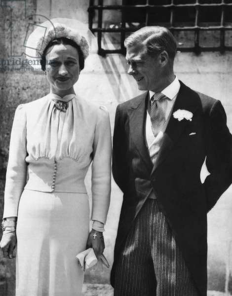 Duchess of Windsor Wallis Simpson and Prince Edward, Duke of Windsor on their wedding day, Chateau de Cande, Monts, France, June 3, 1937