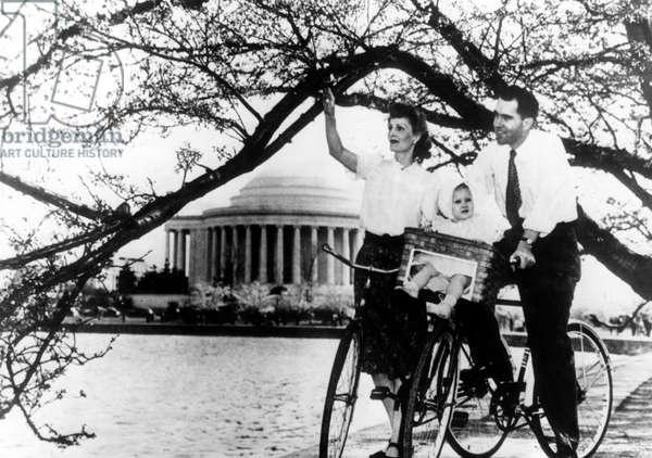 President Richard Nixon, wife and daughter, Tricia, Potomac Tidal Basin, Washington, 04-14-1969.