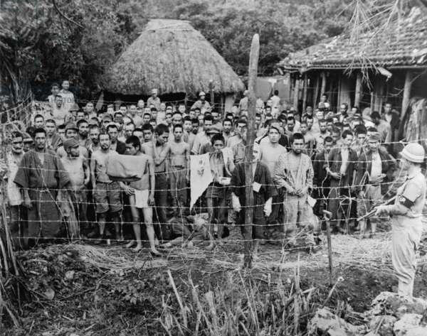 Japanese prisoners of war at Okuku, Okinawa Island in June 27, 1945
