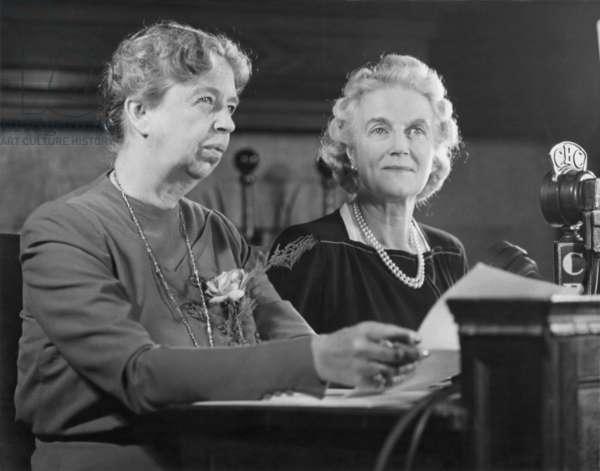 Eleanor Roosevelt and Clementine Churchill during a radio broadcast. Quebec. Sept. 1944. They accompanied their husbands, WW2 Allied leaders, Franklin Roosevelt and Winston Churchill, to the Second Quebec Conference