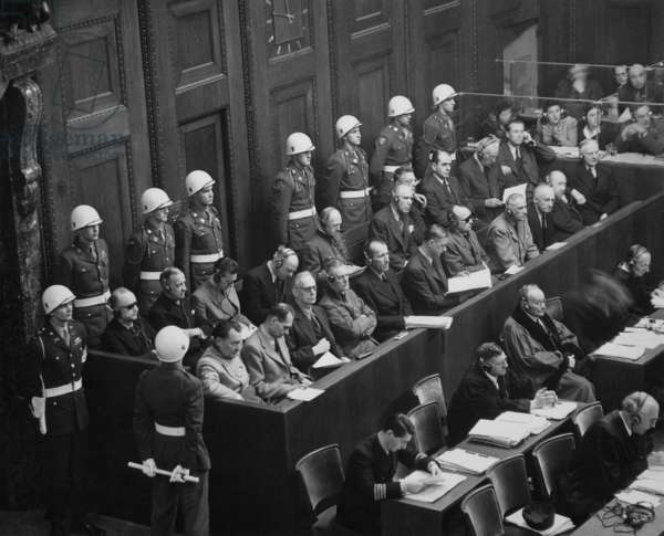 Former Nazi Germany's military and political leaders on trial at Nuremberg. They were prosecuted for waging aggressive war and crimes against humanity. Nov. 1945-Oct. 1946