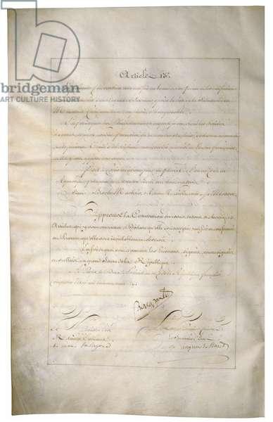 Louisiana Purchase Treaty of 1803 signed by Napoleon Bonaparte and Talleyrand