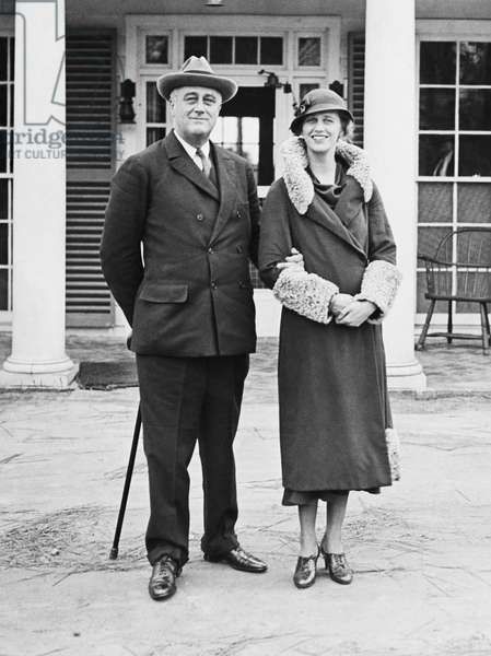 FDR Presidency. US President Franklin Delano Roosevelt and Anna Roosevelt Dall at Warm Springs, Georgia, 1933