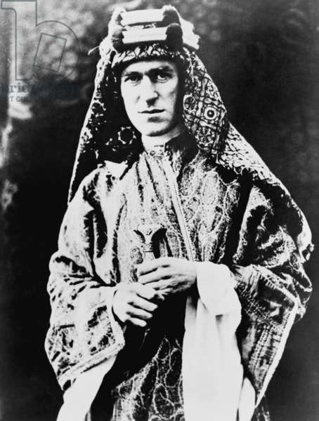 T. E. Lawrence (1888-1935). As a British intelligence officer in World War I, Lawrence fought with Arab irregular troops in guerrilla operations against the armed forces of the Ottoman Empire. c. 1920
