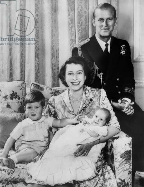 British Royal Family. From left: future Prince of Wales Prince Charles, future Queen of England Princess Elizabeth, future Princess Royal of England Princess Anne, Prince Philip, Duke of Edinburgh, London, England, 1951