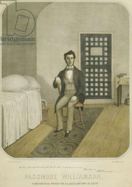 Abolitionist Passmore Williamson, in his Prison cell for violating the Fugitive Slave Law of 1850. With others Williamson freed three slaves from their socially prominent owner and helped them to safety. He convicted of contempt of court for withholding testimony about the incident. His five month imprisonment caused a sensation and his visitors included Frederick Douglass and Harriet Tubman