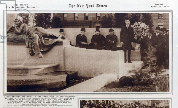 TITANIC: New York Times article showing Mayor Mitchel speaking at dedication of fountain erected at Straus Park 106th Street and West End Ave.), in memory of Isidor Straus and his wife, who lost there lives on the Titanic, Sunday, April 25, 1915