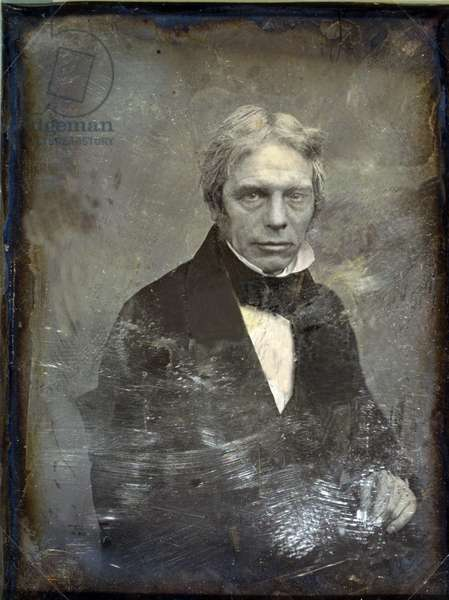 Michael Faraday (1791-1867) English physicist of electromagnetism and inventor of the electric generator. Daguerreotype by Mathew Brady, c. 1852