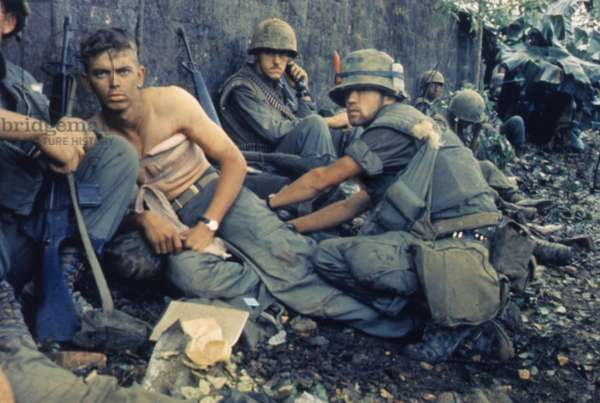 Vietnam War-Tet Offensive. A medic treats a US Marine's wounds during Operation Hue City. Feb. 6, 1968