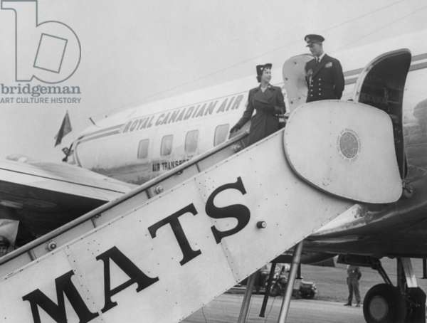 Princess Elizabeth and Prince Philip arrive at Washington's National Airport. Oct. 31, 1951.