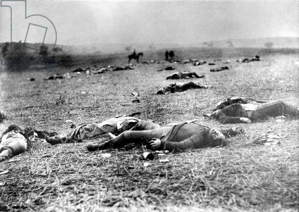 GETTYSBURG-Scene near the Rose Farm or Devil's Den on the Gettysburg battlefield, of dead Union Soldiers. Photograph was taken by Timothy O'Sullivan on July 5, 1863.