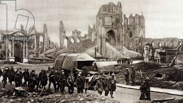 World War 1. German prisoners being marched through the ruins of city of Ypres after the Battle of Menin Road, September 20-25, 1917. The Battle was part of the larger Third Battle of Ypres fought from July to November 1917