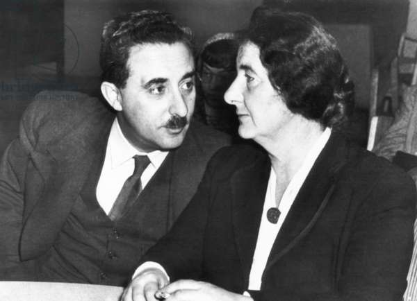 Golda Meyerson (Meir) with Moshe Sharett at the United Nations in New York in 1948. Sharett was Israel's first Minister of Foreign Affairs