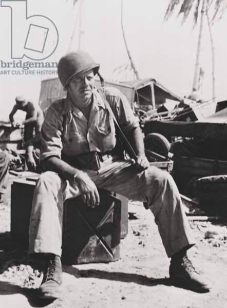U.S. Marine Captain Louis Hayward on Tarawa. He commanded a photographic unit that filmed the a documentary titled 'With the Marines at Tarawa', which won the 1944 Academy Award for Best Documentary (Short Subject). At this time he was married to Ida Lupino. Dec. 6, 1943. World War 2