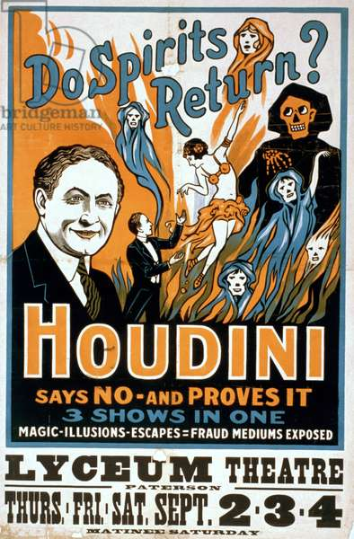 Houdini, poster art for magic show by Harry Houdini, c.1909
