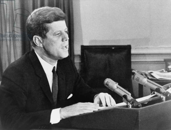 President John F. Kennedy announcing the US establishment of a naval blockade against Cuba, during the Missile Crisis. Oct. 22, 1962