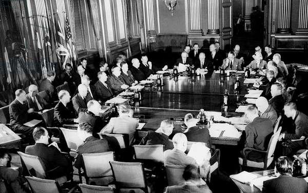 NATO, representatives of the 12 Atlantic Pact nations gather to plan joint defense, Washington D.C., September, 1949
