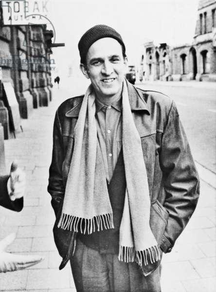 Ingmar Bergman (1918-2007), Swedish director and filmmaker, on a Stockholm street in 1961
