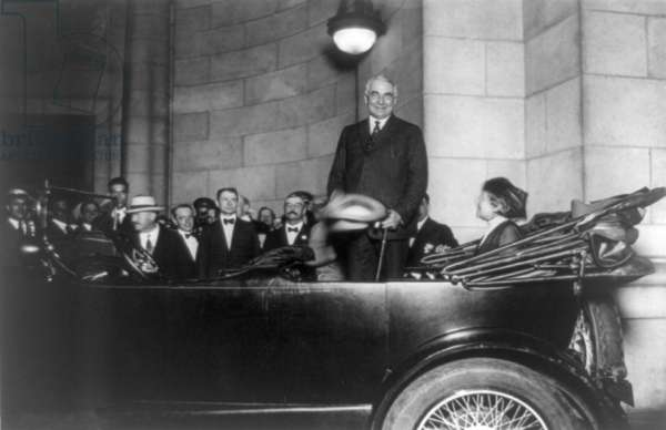 Senator Warren Harding, Republican candidate for President, arriving at Washington's Union Station on October 25, 1920. Harding won the election with 60% of the popular vote
