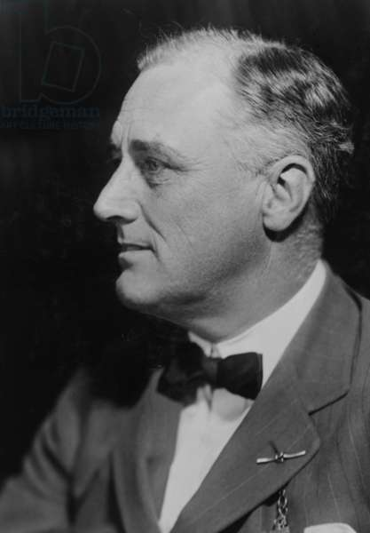 President Franklin D. Roosevelt (1882-1945) head-and-shoulders profile portrait, c. 1932