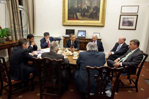 President Obama and VP Joe Biden hold a late night budget negotiation with Congressional leaders. Clockwise from VP Biden Bill Daley John Boehner Barry Jackson Harry Reid David Krone Rob Nabors and Jack Lew. April 6 2011. (BSWH_2011_8_337)