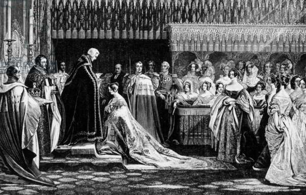 Queen Victoria: Queen Victoria (1819-1901) ruled Great Britain 1837-1901, Victoria (center, kneeling) receiving the sacrament at her coronation, image: 1837