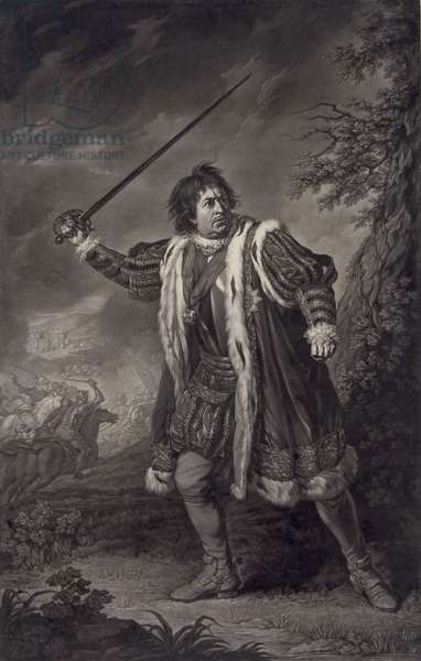 David Garrick (1717-1779), English actor, as Shakespeare's Richard III. Mezzotint by John Boydell, after painting by Nathaniel Dance. 1772