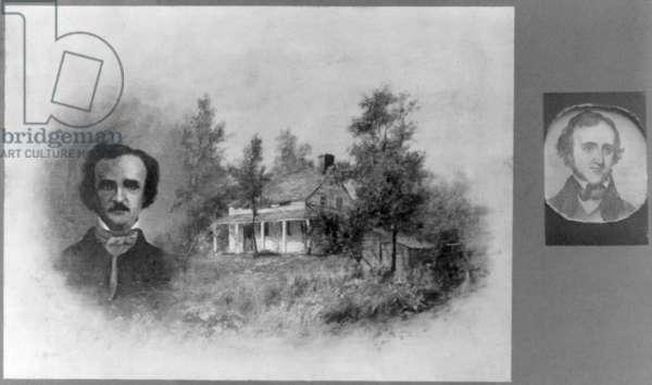 Edgar Allan Poe, (1809-1849), Composite of head-and-shoulders portrait of Edgar Allan Poe and Fordham House, New York, November 21, 1908